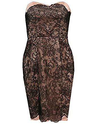 Lipsy Black Nude Lace DR01850 Party Club Prom Dress (UK 10, Black & Nude