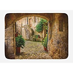 Lunarable Scenery Bath Mat, Landscape from Another Door Antique Style Stone Village Tuscany Italian Valley, Plush Bathroom Decor Mat with Non Slip Backing, 29.5 W X 17.5 W Inches, Multicolor