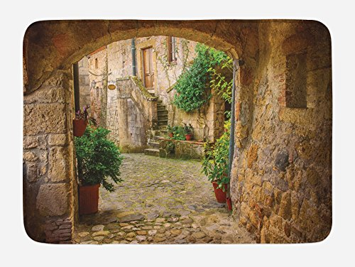(Lunarable Scenery Bath Mat, Landscape from Another Door Antique Style Stone Village Tuscany Italian Valley, Plush Bathroom Decor Mat with Non Slip Backing, 29.5 W X 17.5 W Inches,)