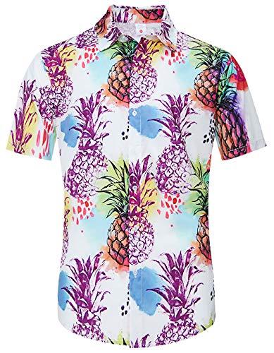 - TUONROAD Casual Aloha Hawaiian Luau Shirt Vintage Button Down Shirt White Jacinth Painting Pineapple Cute Funny Wedding Short Sleeve Shirt Large Tropical Shirts Attire Tops for Colleage School