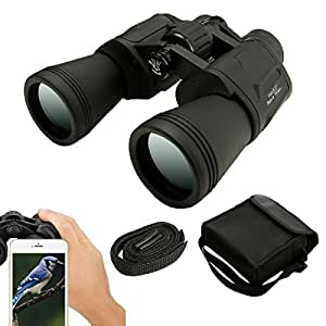 Waterproof Binoculars,SGODDE 10x50 High Powered Binoculars Telescope-Easy Focus for Outdoor Shooting Travelling Sightseeing Hunting (with Carrying Case, Hand Strap, Cleaning Cloth, Lens Caps)