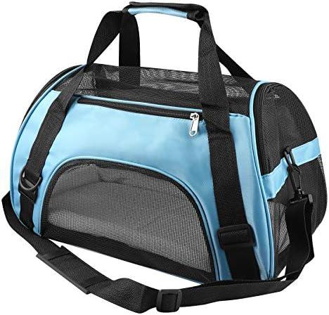 PUBAMALL Pet Carriers, Portador de Gatos, Bolsa de Mascotas Plegable portátil para Perros, Cremallera bloqueable y Bolsa de Hombro (M: 47 * 30 * 23 cm, Azul con tapete) 2