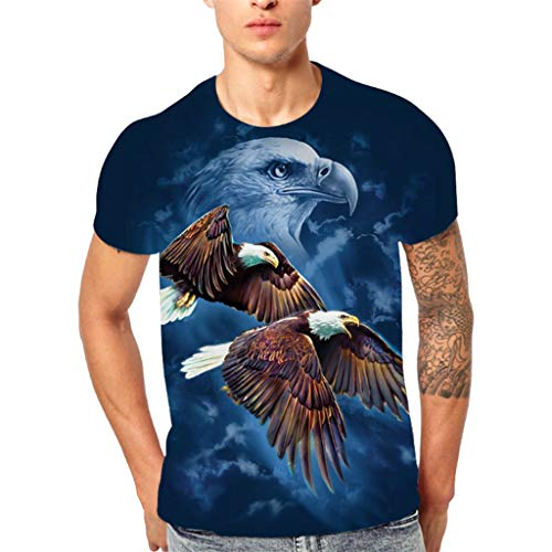 Birdfly Men's New Fashion 3D Flying Eagle Printed Short-Sleeved T-Shirt Top Blouse