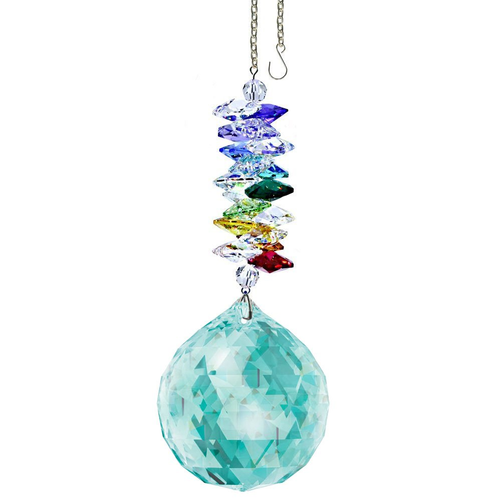 Crystal Ornament 4.5 inch Window Suncatcher Antique Green Faceted Ball Prism Rainbow Maker Crystal Cascade Made with with Swarovski crystals by CrystalPlace