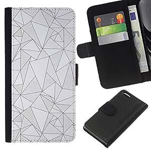 Stuss Case / Funda Carcasa PU de Cuero - Líneas Poli Arte abstracto gris - Apple Iphone 5C