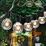 Svater Led Globe Outdoor Garden String Lights 25FT 25Bulbs G40 Patio Party Hanging String Lighting Waterproof Indoor Outdoor Gazebo Bistro Cafe Backyard Extendable Festoon Lights [Energy Class A+]