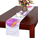 Happy Easter Greeting Card Logo Wood Table Runner, Kitchen Dining Table Runner 16 X 72 Inch for Dinner Parties, Events, Decor