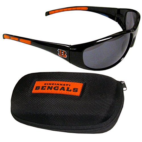 Siskiyou NFL Cincinnati Bengals Wrap Sunglasses & Zippered Case, Black