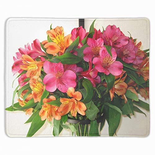 (Art Mousepad Natural Rubber Printed with Alstroemeria Bouquet Vase Leaves Stitched Edges 9.8x11.8x0.1)