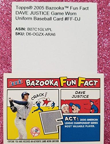 2005 Topps® DAVE JUSTICE BazookaTM Fun Fact Game Worn Uniform Baseball Card #FF-DJ