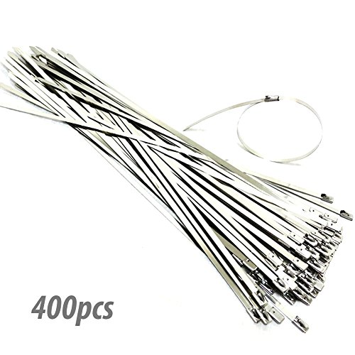 The Elixir 400pcs 11.8 Inches (300 x 4.6mm) Stainless Steel Cable Zip Tie Exhaust Wrap Coated Locking (Elixir Cables)
