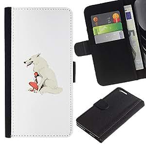 KLONGSHOP // Tirón de la caja Cartera de cuero con ranuras para tarjetas - White Wolf & Girl - Apple Iphone 6 PLUS 5.5 //