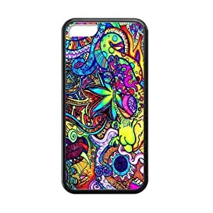 Colorful Fantasy Trippy Laser TPU Case for Apple IPhone 5C (New Technology) Black Cover Case IP5C-Laser020
