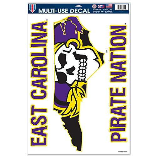 East Carolina Pirates Official NCAA 11 inch x 17 inch Car Window Cling Decal by Wincraft