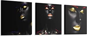 bocassis 3Sets African American Print Wall Art Décor Black Gold Woman Golden Lips Picture Canvas Wall Mural Bedroom or Room for Home Decor Framed Ready to Hang (A, 12X12Inchx3Pcs)