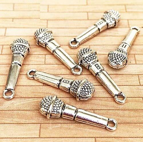 Brosco 1:12 Dollhouse Miniature Silver Microphone for Doll House DIY Landscape Scene @