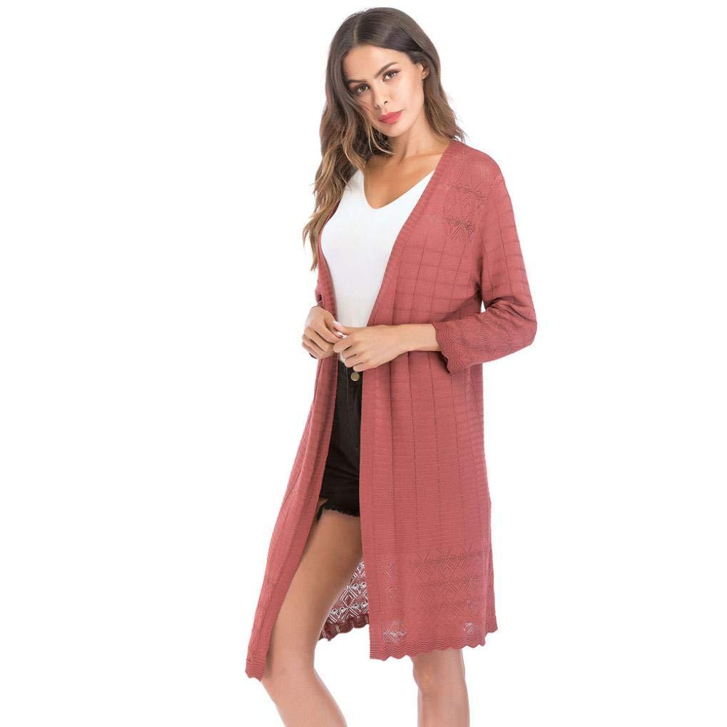 Pandaie Womens Jacket,Women's Loose Gradient Solid Knit Cardigan Retro Long Sleeve Coat