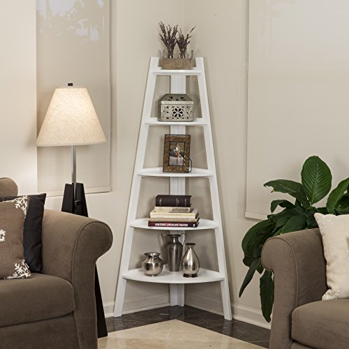 Contemporary Solid Wood 5 Tier Ladder Display Bookshelf in White Finish - Includes Modhaus Living Pen by ModHaus Living