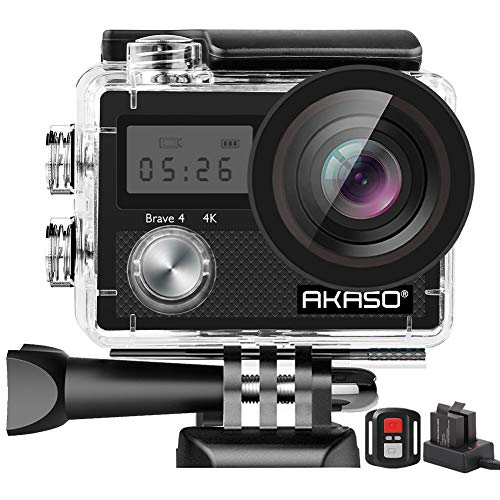 AKASO Brave 4 4K 20MP WiFi Action Camera Ultra HD with EIS 30m Underwater Waterproof Camera Remote Control 5X Zoom Underwater Camcorder with 2 Batteries and Helmet Accessories Kit from AKASO