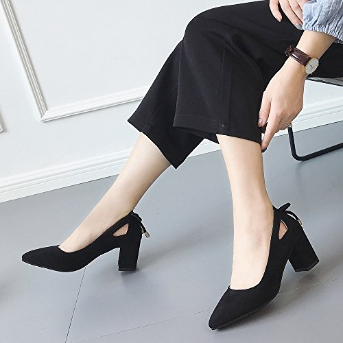 Party Toe Ankle High Black Jobs Single Fashion Flock ��Farjing Sandal Women Shoes Pointed Womens Clearance Sale Heels For Shoes qwvzBpOO