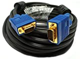 Importer520 Blue Connectors HD15 Male to Male SVGA VGA Long Video Monitor Cable for TV Computer Projector (25 Feet)