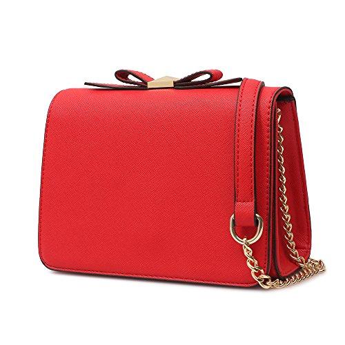 Bolso Mujer Bolso Bandolera Mujer Casual PU Cuero Crossbody Bag Pequeño Bowknot Bolsa de Cadenas para Business Boda Fiesta Compras