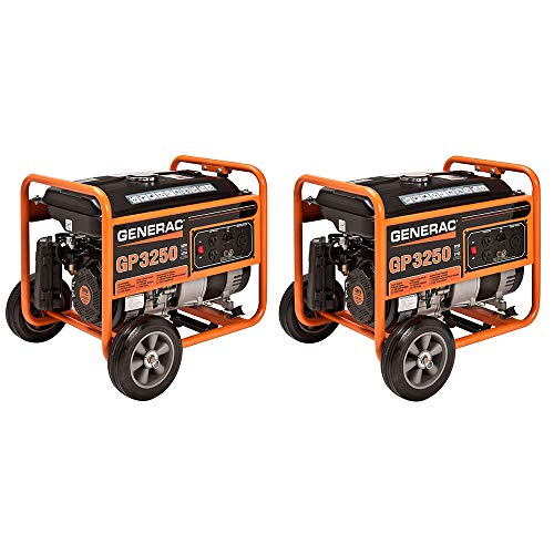 Generac GP Series 3250 3750 Watt Gas Powered Camping Portable Generator (2 Pack)