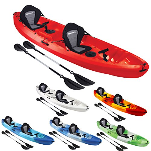 Bluewave Double +1 Sit On Top Fishing Kayak | With 4 Rod Holders, 2 Storage...