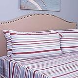 IZOD Bradley Stripe Sheet Set, Twin XL, Grey/Red