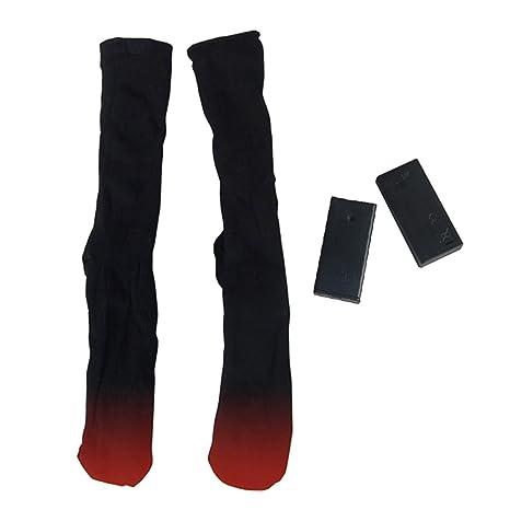 Per 3V Calcetines Calefactables Dobles Capas para Homres y Mujeres con Baterías Calcetines Térmicos Invierno para