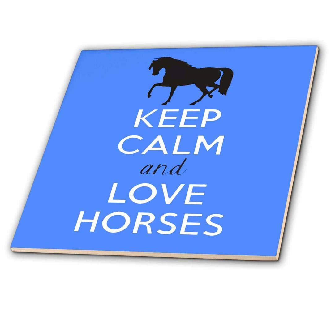 3dRose ct_193617_2 Keep Calm and Love Horses. Blue-Ceramic Tile, 6-Inch