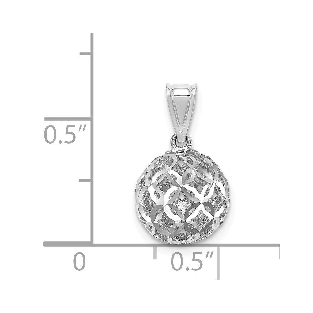 14K White Gold D//C Ball Dangle Pendant
