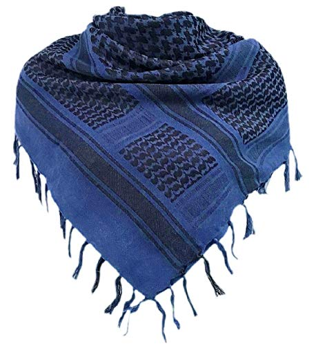 (Military Shemagh Tactical Desert 100% Cotton Keffiyeh Scarf Wrap, Blue, One size)