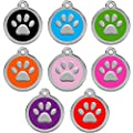 CNATTAGS Stainless Steel with Enamel Pet ID Tags Designers Round Paw by CNATTAGS LLC