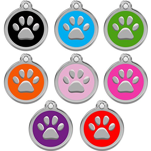 51 zHhSmr9L - CNATTAGS Stainless Steel with Enamel Pet ID Tags Designers Round Paw