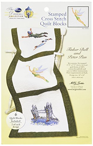 M C G Textiles Disney Dreams Stamped 3 Designs Quilt Blocks, Tinker Bell and Peter Pan, 6-Pack (Peter Pan Cross Stitch compare prices)
