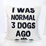 I was normal 3 dogs ago Funny dog lover pillowcase Dog themed Christmas gift - 18x18 inch linen pillow cover for dog owners