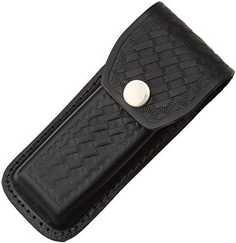 Sheath Folding Knife Sheath, Black leather w/embossed basketweave,4.5-5.25in closed SH1144