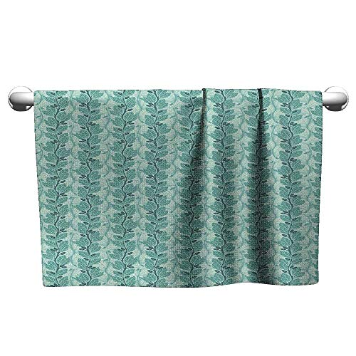 (xixiBO Swimming Towel W24 x L8 Tree,Oaks with Acorns Forest Design with Lush Leaves and Flourishing Branches,Slate Blue Sea Green Water Absorption Multi-Purpose)