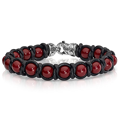 Braid And Bead Red Shell Pearl And Braided Black Leather Scott Kay Mens Bracelet ()