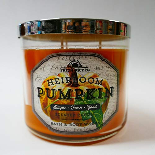 Bath & Body Works Heirloom Pumpkin 3 Wick 14.5 Ounce Candle Fresh Picked Collection -
