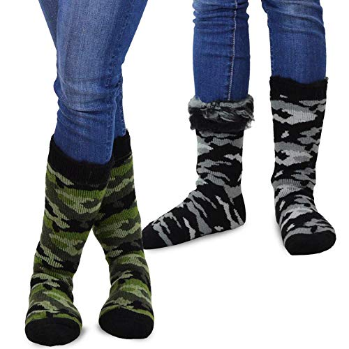 TeeHee Super Warm Brushed Thermal Crew Socks 2 Pairs Pack (9-11, (Camouflage Thermal)