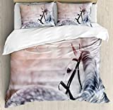 Horse Decor Duvet Cover Set Queen Size by Ambesonne, Portrait of Gray Sports Stallion in Winter Sunset Scenery Purebred Mare, Decorative 3 Piece Bedding Set with 2 Pillow Shams, White Black Yellow