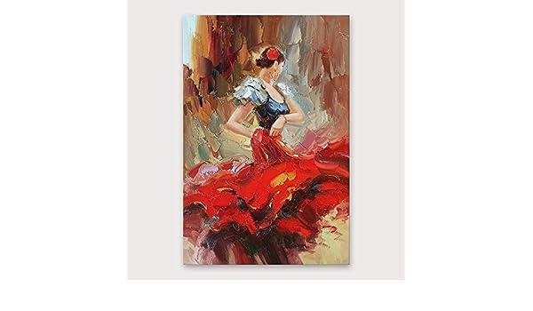LDKAI Pintura al óleo Pintado a Mano-Abstracta Moderna Lona ...