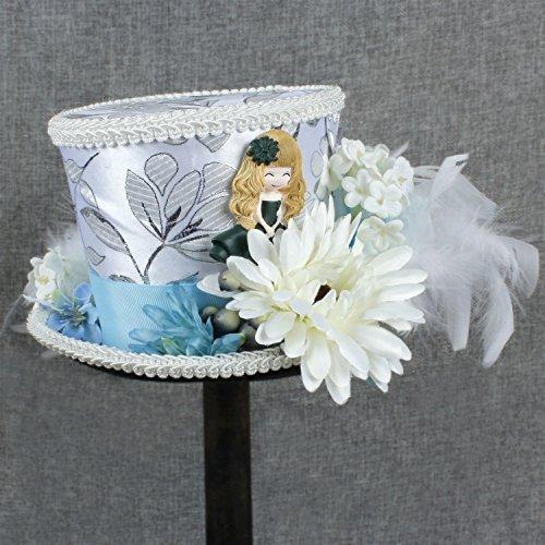 ZHANGBBB White Mini Top Hat, Cream Ivory Mini