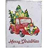 """Red Truck Christmas Decor LED Canvas Light Up Poster Sparkling Wall Art 13"""" x 17"""" Battery Powered and Perfect Size for Home, Mantle, Classroom, Office, Farmhouse Decor Rustic Retro Holiday Decorations"""