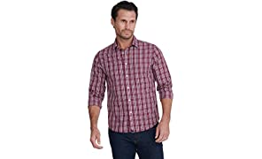 UNTUCKit Chevalier - Untucked Shirt for Men Long Sleeve, Wrinkle-Free, Red Navy & White Plaid
