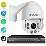 A-ZONE 4 Channel 1080P AHD DVR with AHD PTZ Dome Camera 10x Optical Zoom, 2.0MP Waterproof Night vision Indoor/Outdoor CCTV surveillance Camera, Medium Speed Security Camera Coaxial System
