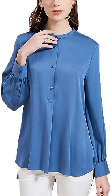 Valin V7316 - Blusa de seda para mujer, 100% seda, cuello ...
