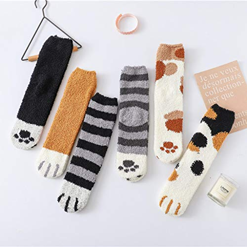 6 Pack Cute Cat Claw Design Plush Cozy Slipper Sock for Womens Winter Indoor - http://coolthings.us
